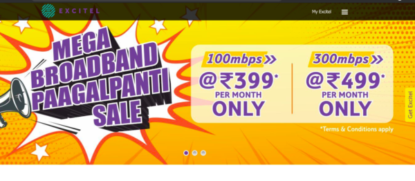 Excitel Diwali Plans Offers & Discount 2020 Unlimited data at a speed of 100Mbps on Recharge of Rs. 399, 100 Mbps, 200 Mbps, 300 Mbps Speed Plan Price and More Details